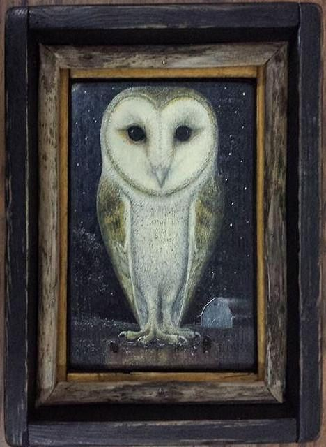 Barn Owl hand painted on reclaimed Pine.  by 903GALLERYSTUDIO