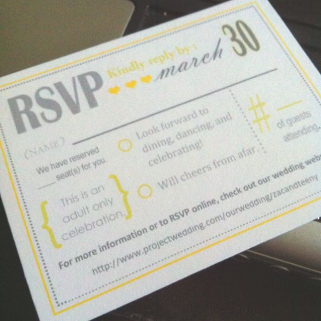 I Finished Designing The RSVP Cards :) Too Bad I Can't