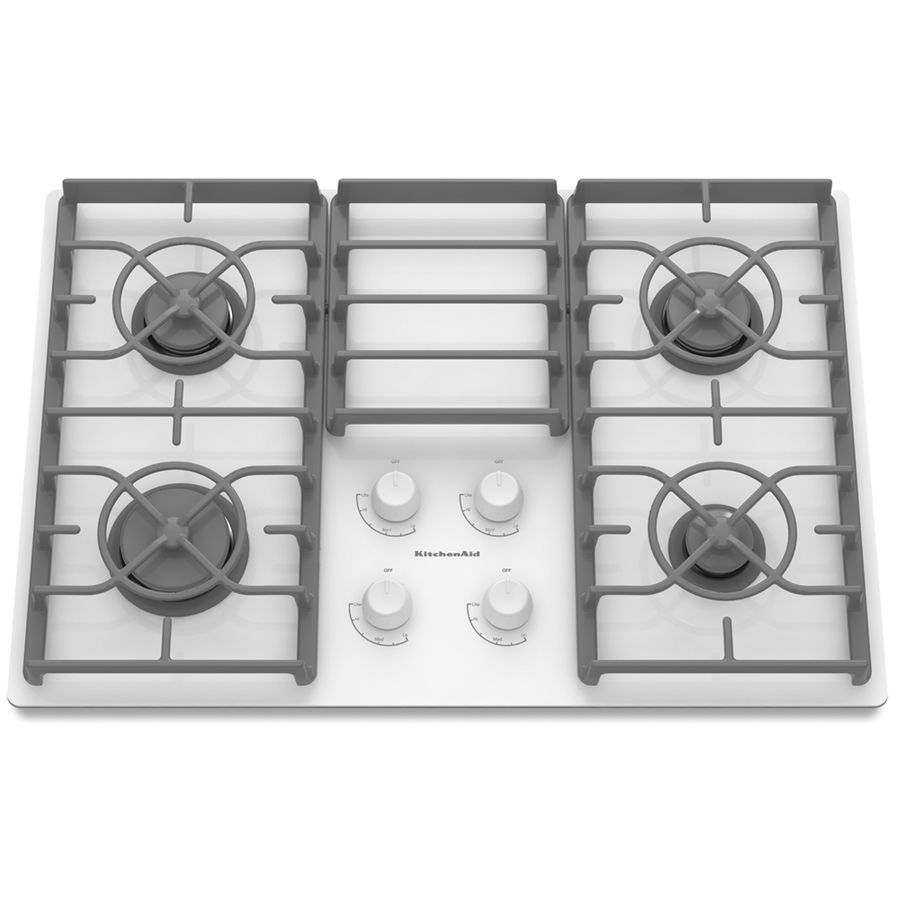 Shop Kitchenaid Architect Ii 4 Burner Gas Cooktop White Common 30 In Actual 30 188 In At Lowes Com Glass Cooktop Cool Things To Buy