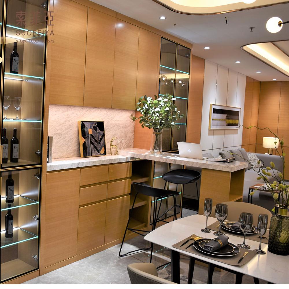 Suofeiya Modern Simple Veneer Wooden Dining Room Wine Bar ...