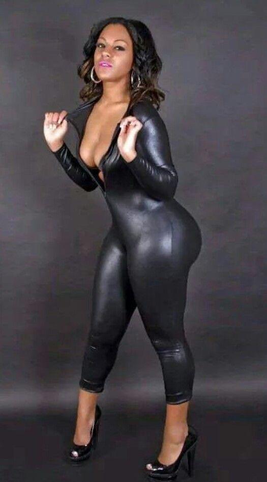 Sexy Black Female Faux Leather Catsuit PVC Latex Bodysuit
