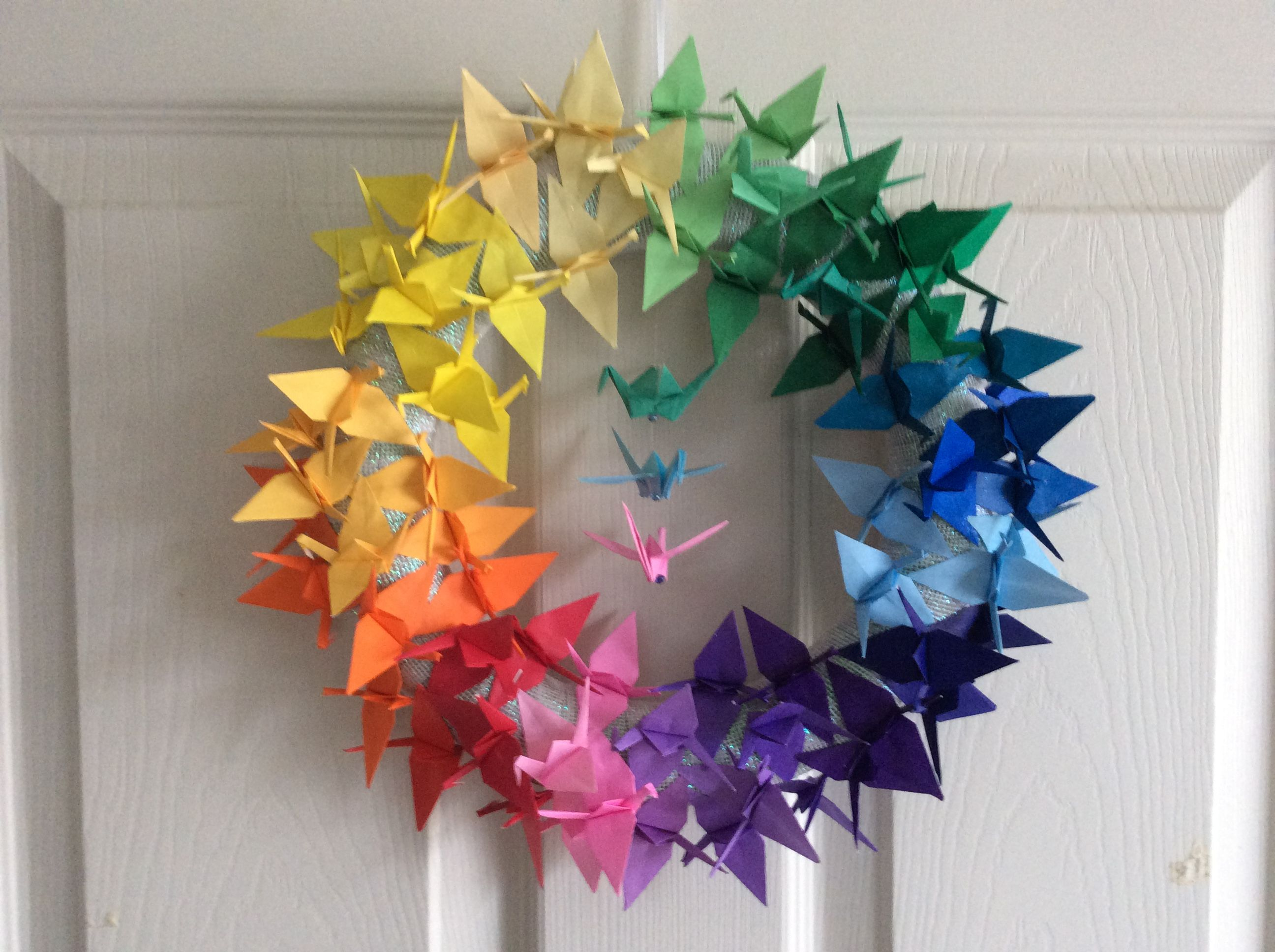 Rainbow Origami Crane Wreath