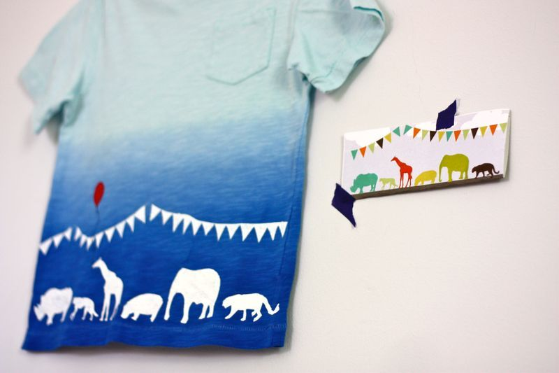 Bunting and animals freezer stencil shirt
