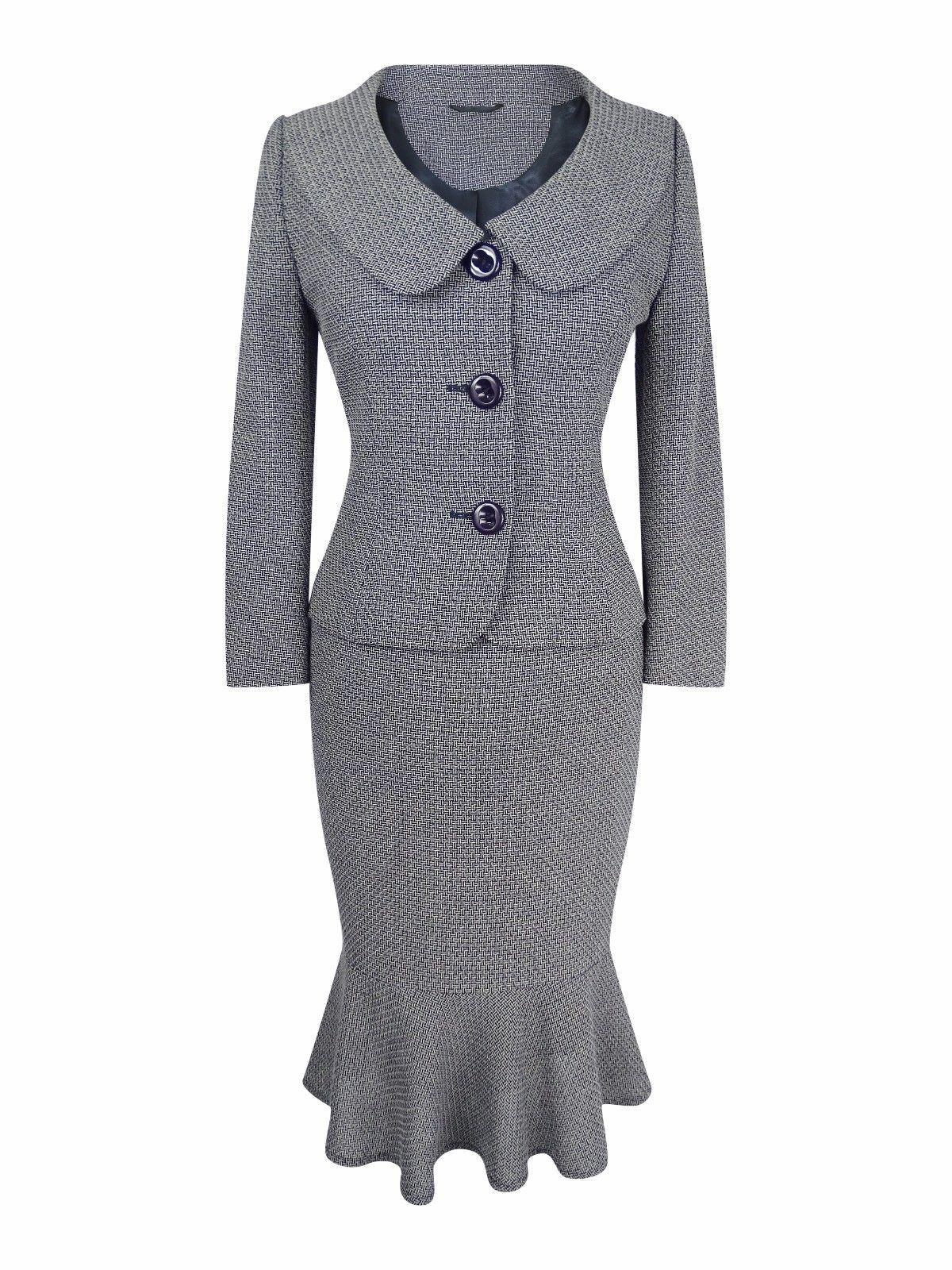 HOBBS GREY BLACK WOOL LEOPARD SKIRT SUIT SIZE UK14 US10 EU42 AU12 WOMEN LADIES