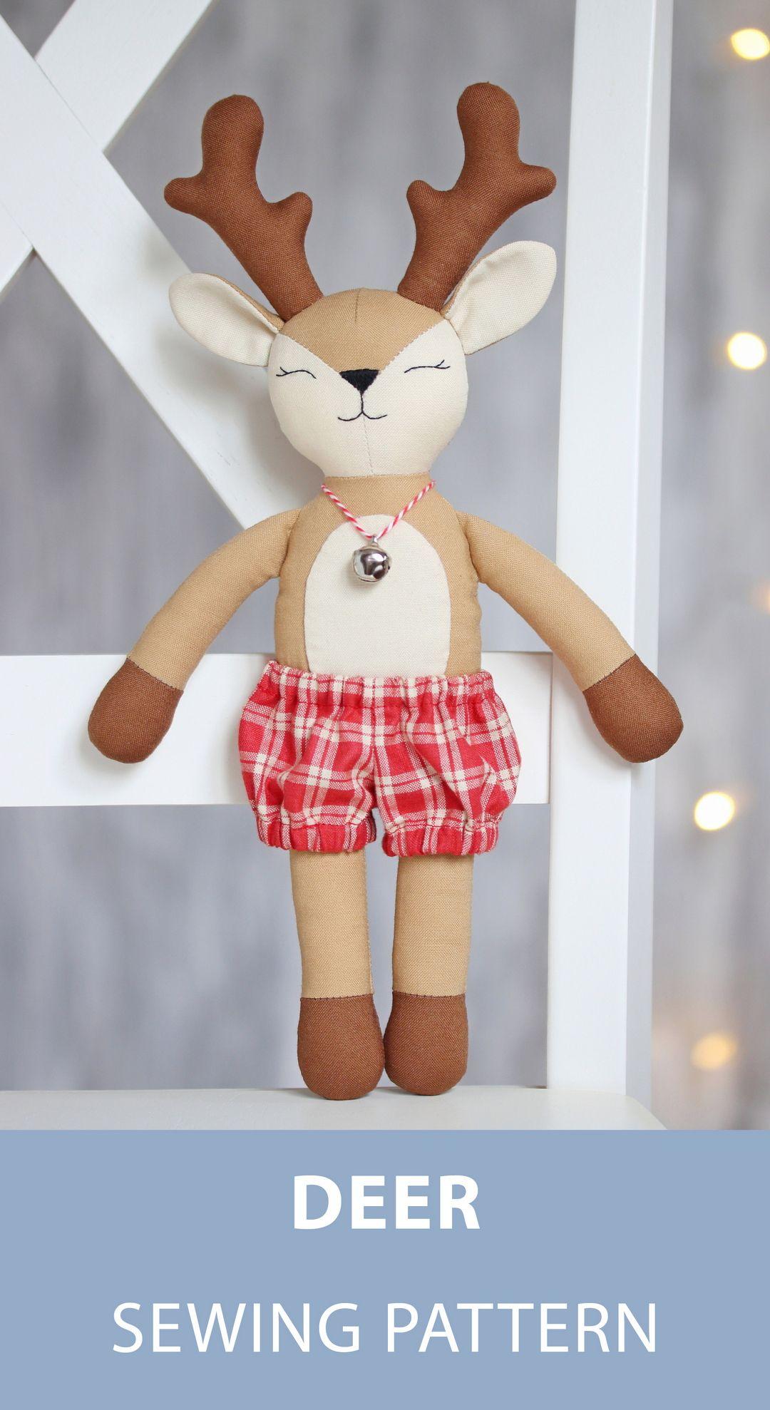 PDF Deer Reindeer Doll Sewing Pattern & Tutorial — Forest Animal
