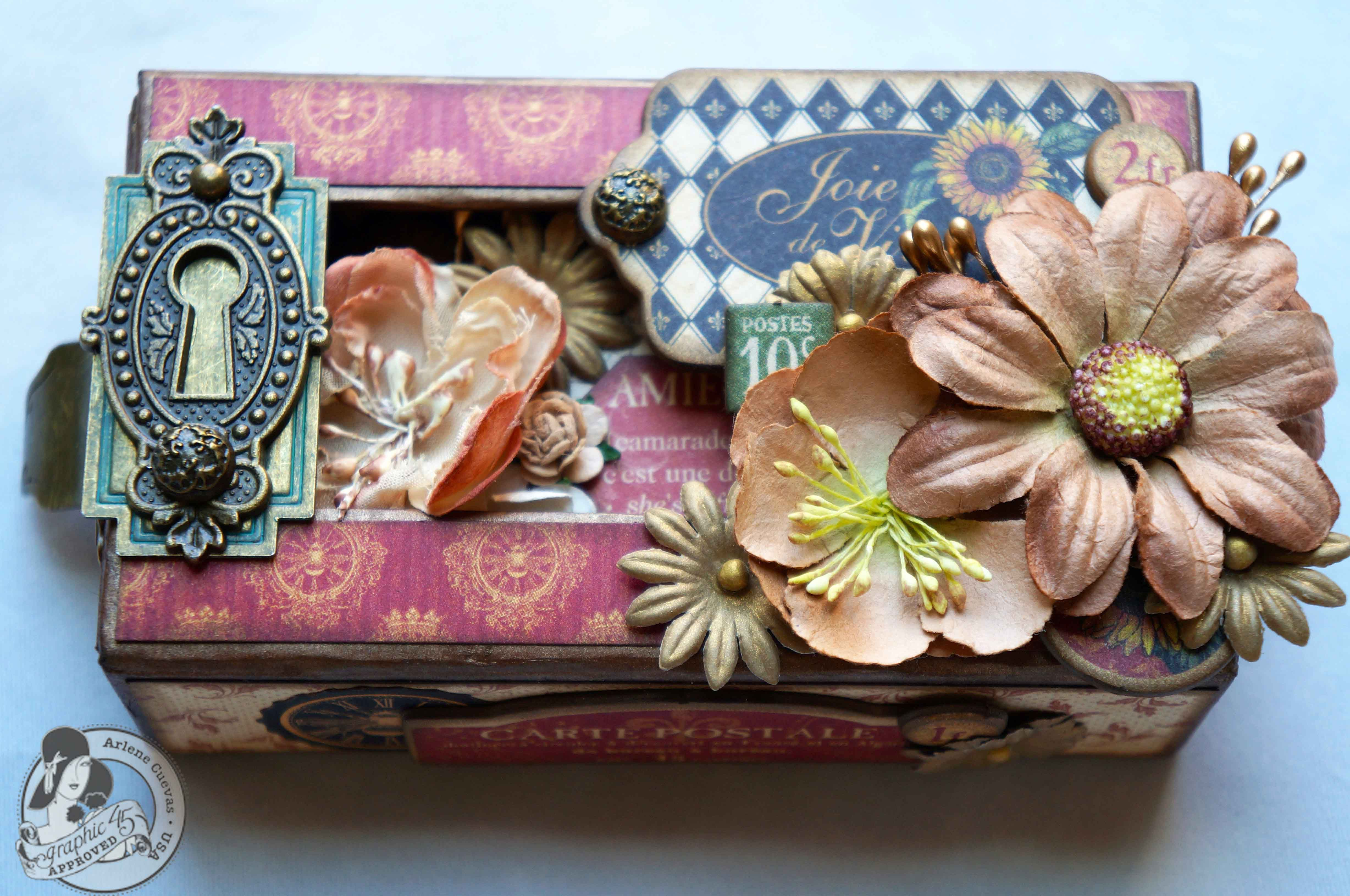 Graphic 45 French Country Altered Matchbook Box and Mini Album by Arlene Cuevas