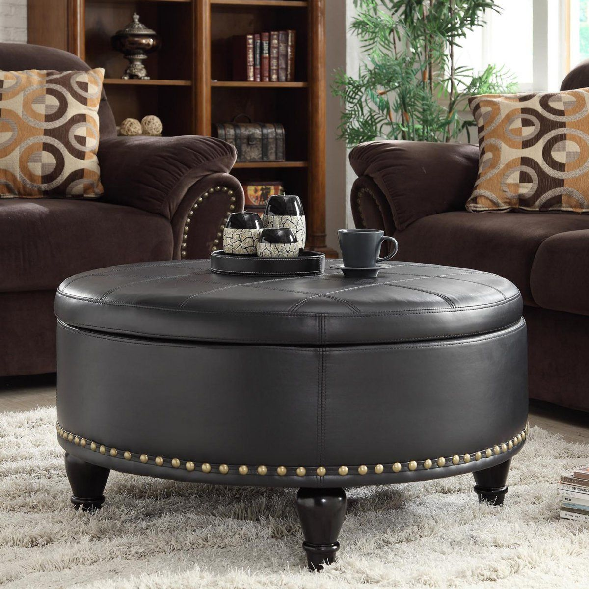 Chocolate brown sofa living room ideas combined with round leather ottoman coffee table storage Brown leather ottoman coffee table