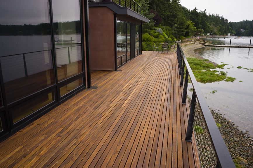 100 wooden deck design ideas photos of designs shapes for Long narrow balcony decorating