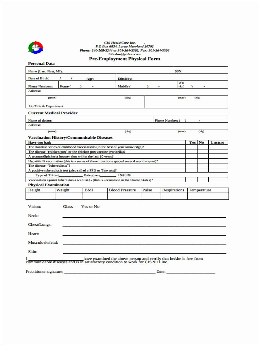 Medical Physical Form For Employment Lovely 5 Employment Physical Form Sample Free Sample Example Physics Medical Medical History Medical physical form for employment