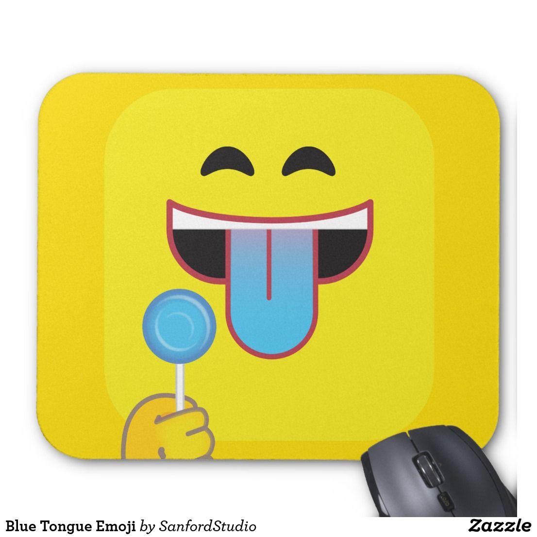 Blue Tongue Emoticon Mouse Pad