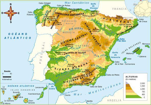 Mapa De España Actualizado.Mapa Espana Fisico 2 Mapa Fisico De Espana Relieve Espana