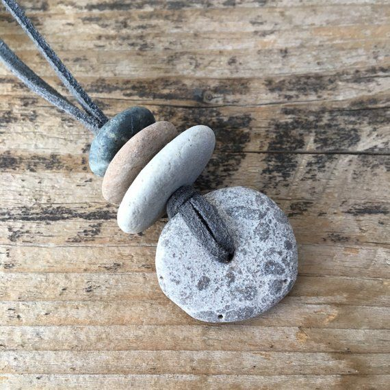 Photo of Stone Focal Cairn Necklace | Granite Beach Rock Necklace on Faux Suede Cord | Oil Diffusing Pebbles | Non Metal Jewelry Unique Gift