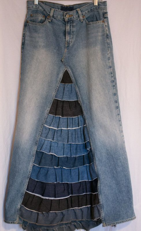Upcycled/Recycled Denim Maxi Skirt with African Print Inserts ...