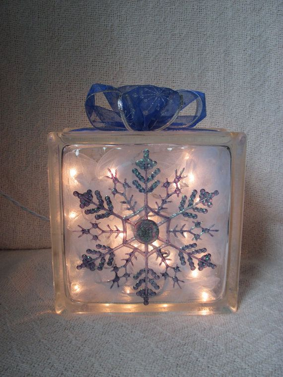 Snowflake Glass Block Home Decor By Candylandgifts On Etsy Glass