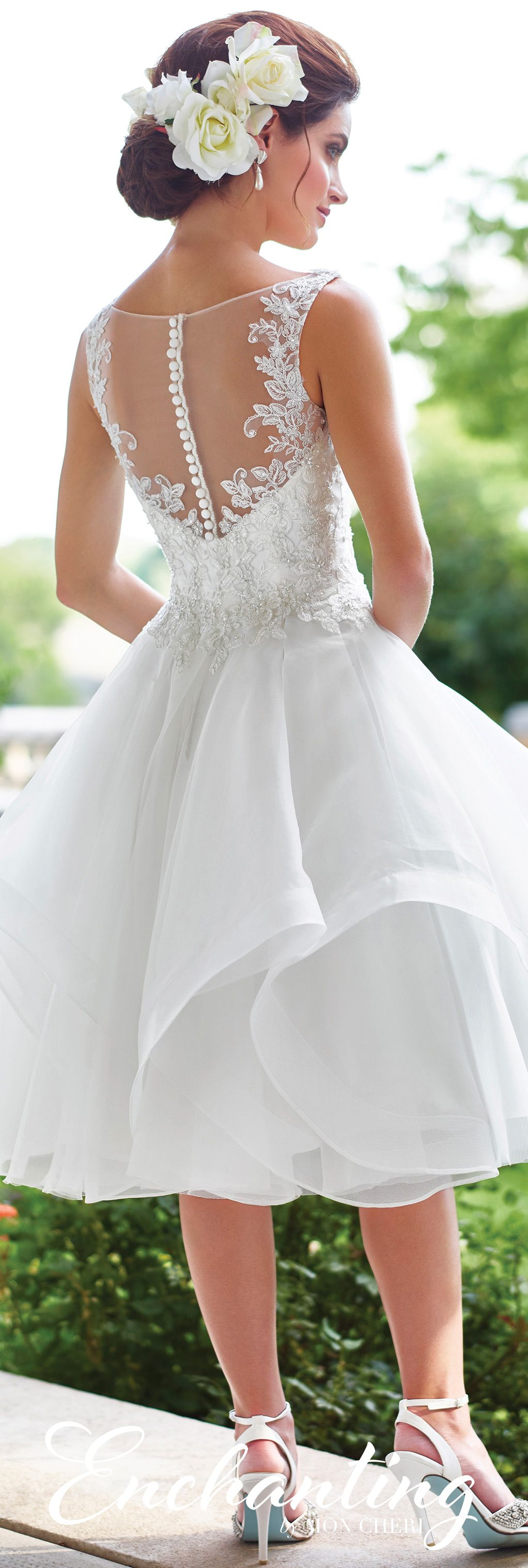 Tulle Knee Length Wedding Dress 117181 Enchanting By Mon Cheri