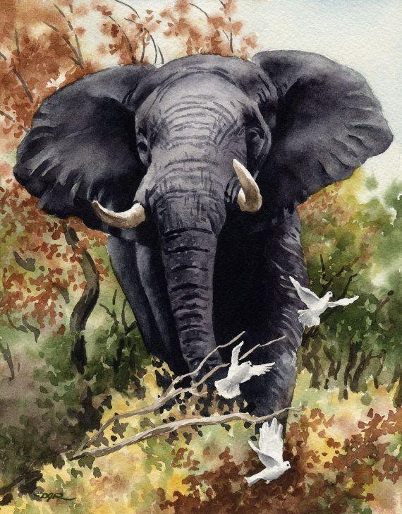 Afrikanische Elefanten Kunstdruck Aquarell Signiert Von Kunstler Dj Rogers Wildlife Wand Dekor Mit Bildern Tierkunst Elefanten Bilder Elefanten Fotografie