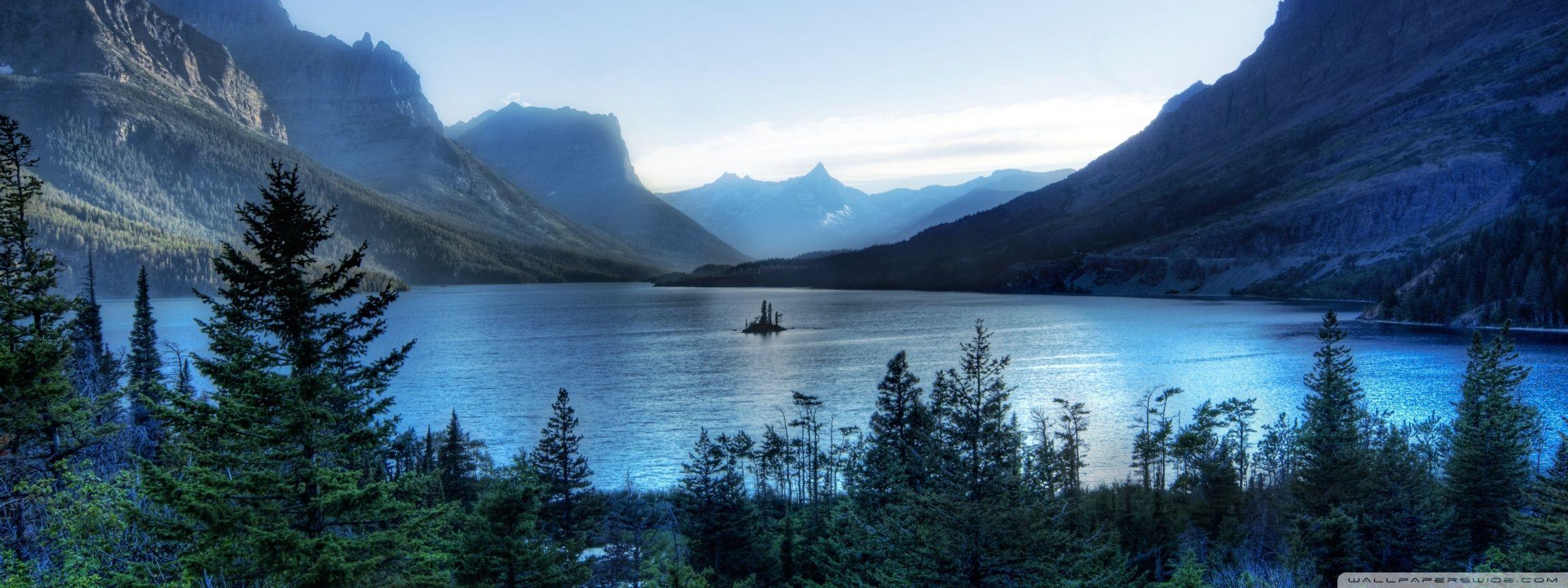 Glacier National Park Dual Monitor Hdpicorner National Parks Lake Landscape Glacier National Park