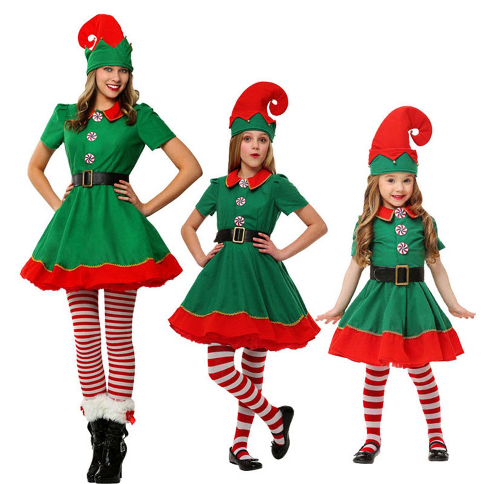 Girls Elf Tights Red and Green Santa Little Helper Christmas Fancy Dress Kids