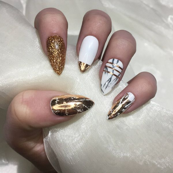 Copper and Marble Stiletto false press on nails. ($12) ❤ liked on ...