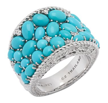 Judith Ripka Sterling Silver Sleeping Beauty Turquoise & Simulated Diamond Ring