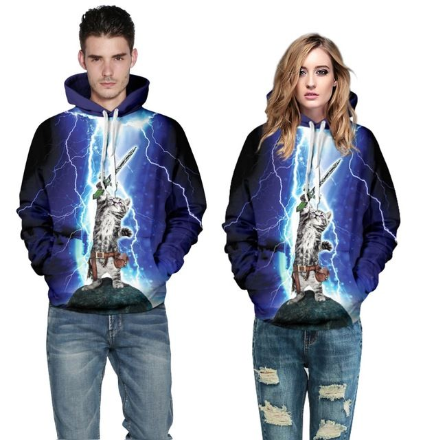 3D printed harajuku Light cat workout hoodies high quality couple hooded sweatshirt fashion S-XL survetement femme marque 2015