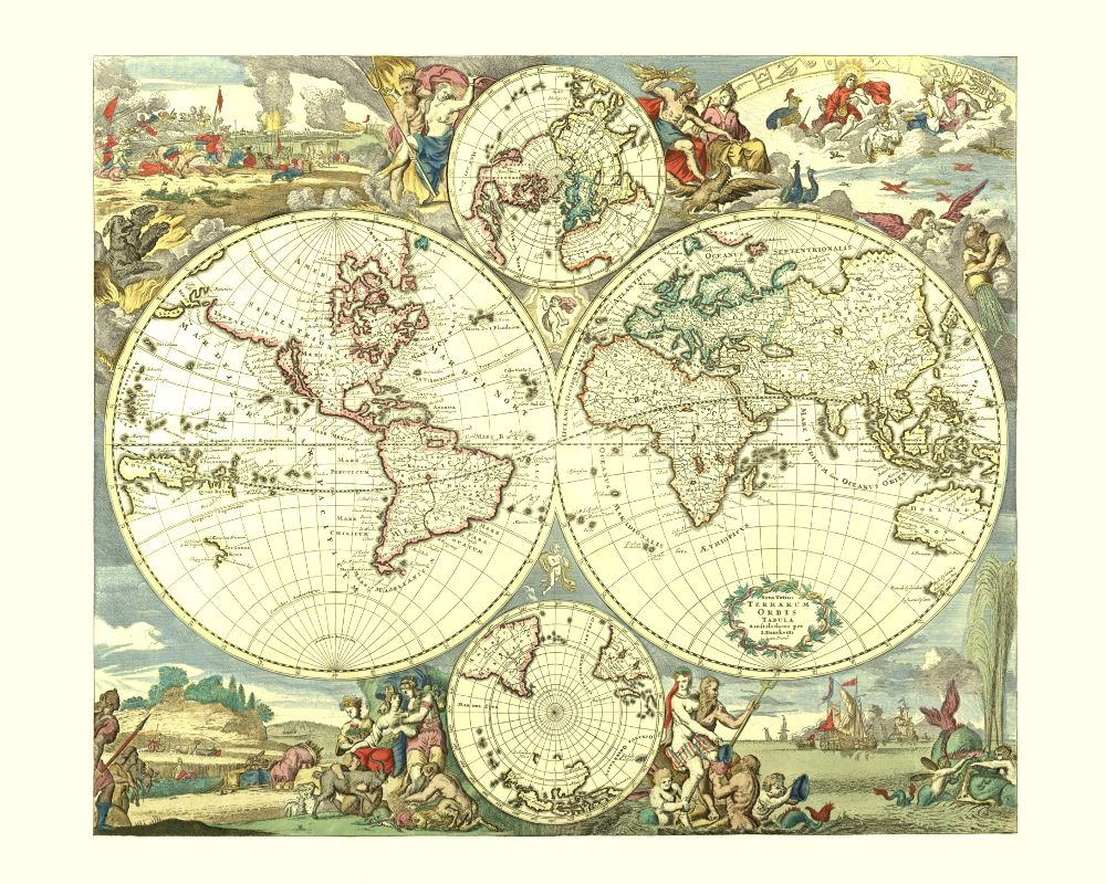 Antique world map poster world worldmap worldmapposter monde 17th century exploration of australia antique world map gumiabroncs Choice Image