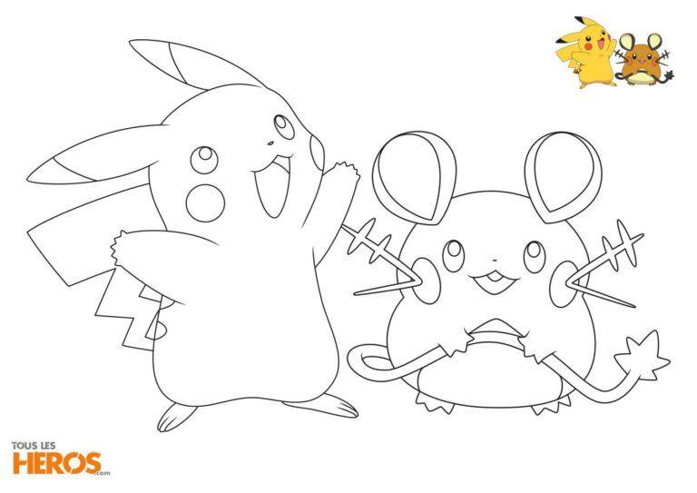 Coloriage Pokémon Avec Le Mignon Duo Pikachu Et Dedenne Imprimer
