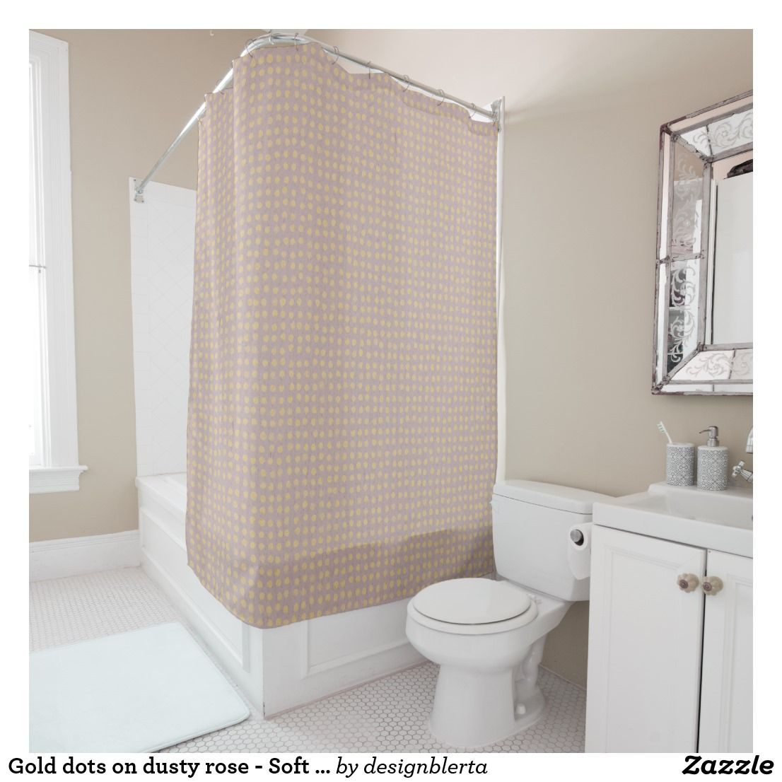 Gold Dots On Dusty Rose Soft Pastel Shower Curtain Zazzle Co