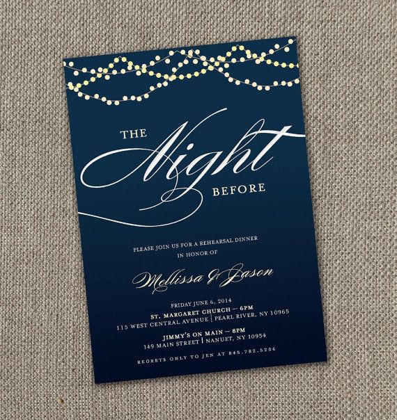 Starry Night  Rehearsal Dinner Invitation Digital File
