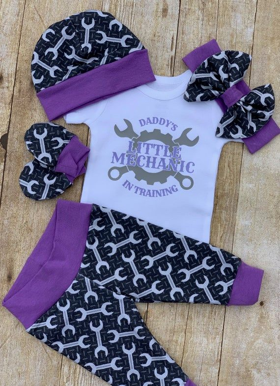 Photo of Daddy's Little Girl Mechanic Infant Outfit, Coming Home Baby Girl Outfit, Take Home Newborn Outfit, Girl Layette and Bow Set, Tool Handyman