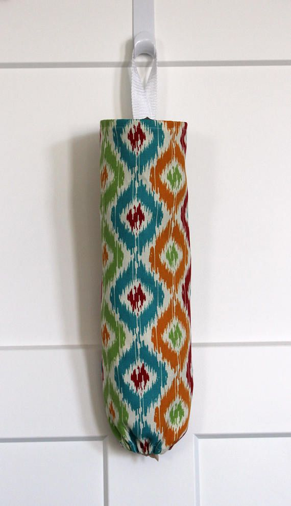Grocery Bag Holder Made With Bright Ikat Home Decor Fabric