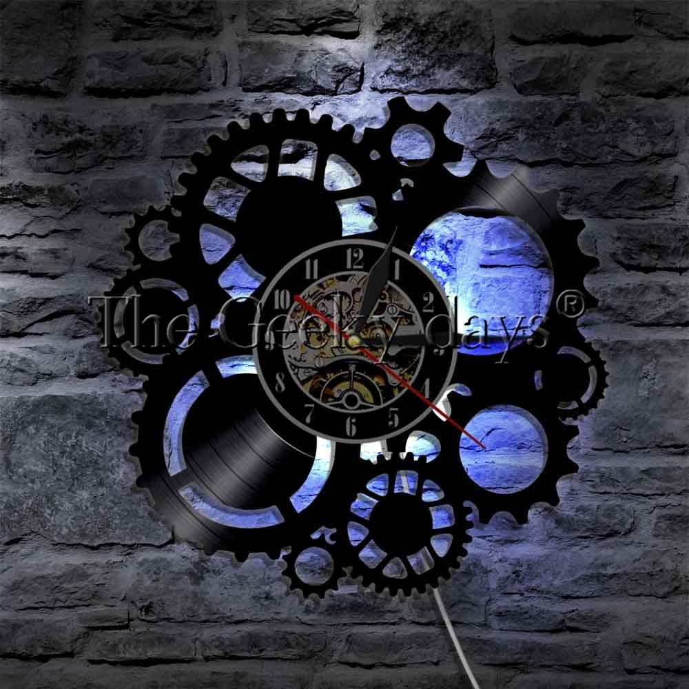 1Piece Steampunk LED Wall Light Sign Gear Cogs LED