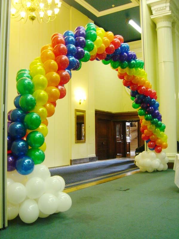 Rainbow theme birthday party supplies party for Balloon decoration london
