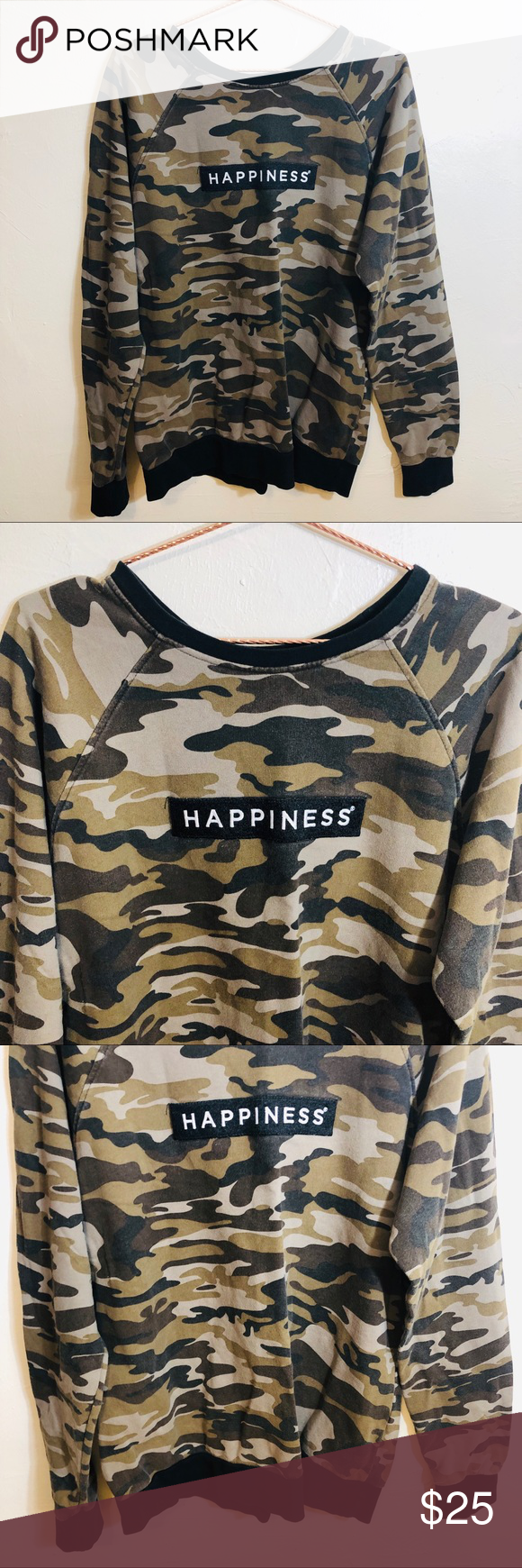 """Happiness Green Camo Long Sleeve Sweater Men Happiness Green Camo Long Sleeve Sweater Men  Great Condition  Fabric: See Pictures for Details  Below are flat lay approximate measurements in inches:  Armpit 24"""" Sleeve 33"""" Length 28""""  No swaps/Trades 🛑 Offers Welcome.  Please browse rest of my closet LIKE,SHARE, MAKE OFFERS, BUY!!  I share other Posh Closets Daily  💯 👍🏼❤️  Please check out the rest of my closet.     Thanks for Poshing 😁 thru🥂  Item- Sweater Happiness Sweaters"""