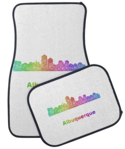 Rainbow Albuquerque skyline Car Mat $87.25 *** Rainbow ...