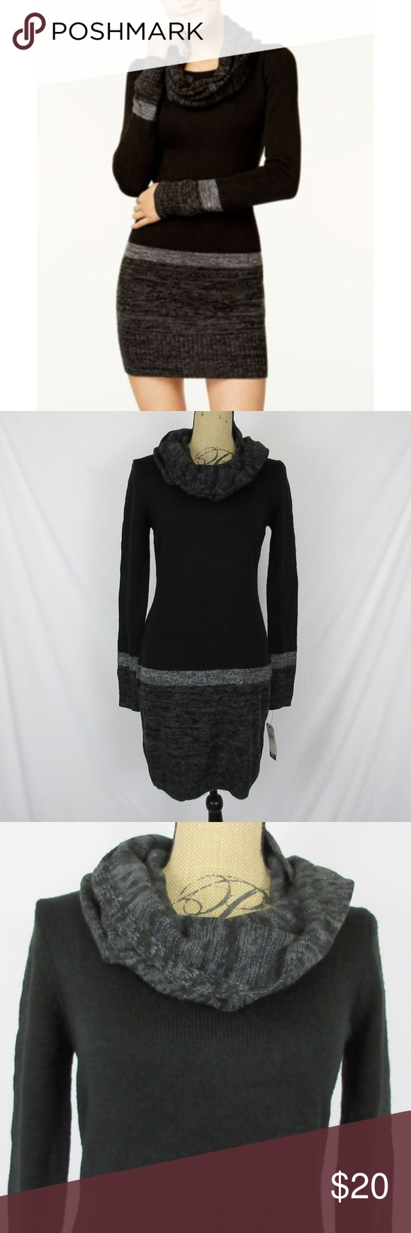 cdc5d1e8d6f BCX Sweater Dress Infinity Scarf Color Blocked Style  1102N4W 100% Acrylic  - hand wash
