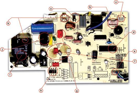partes de una tarjeta electronica de un aire acondicionado
