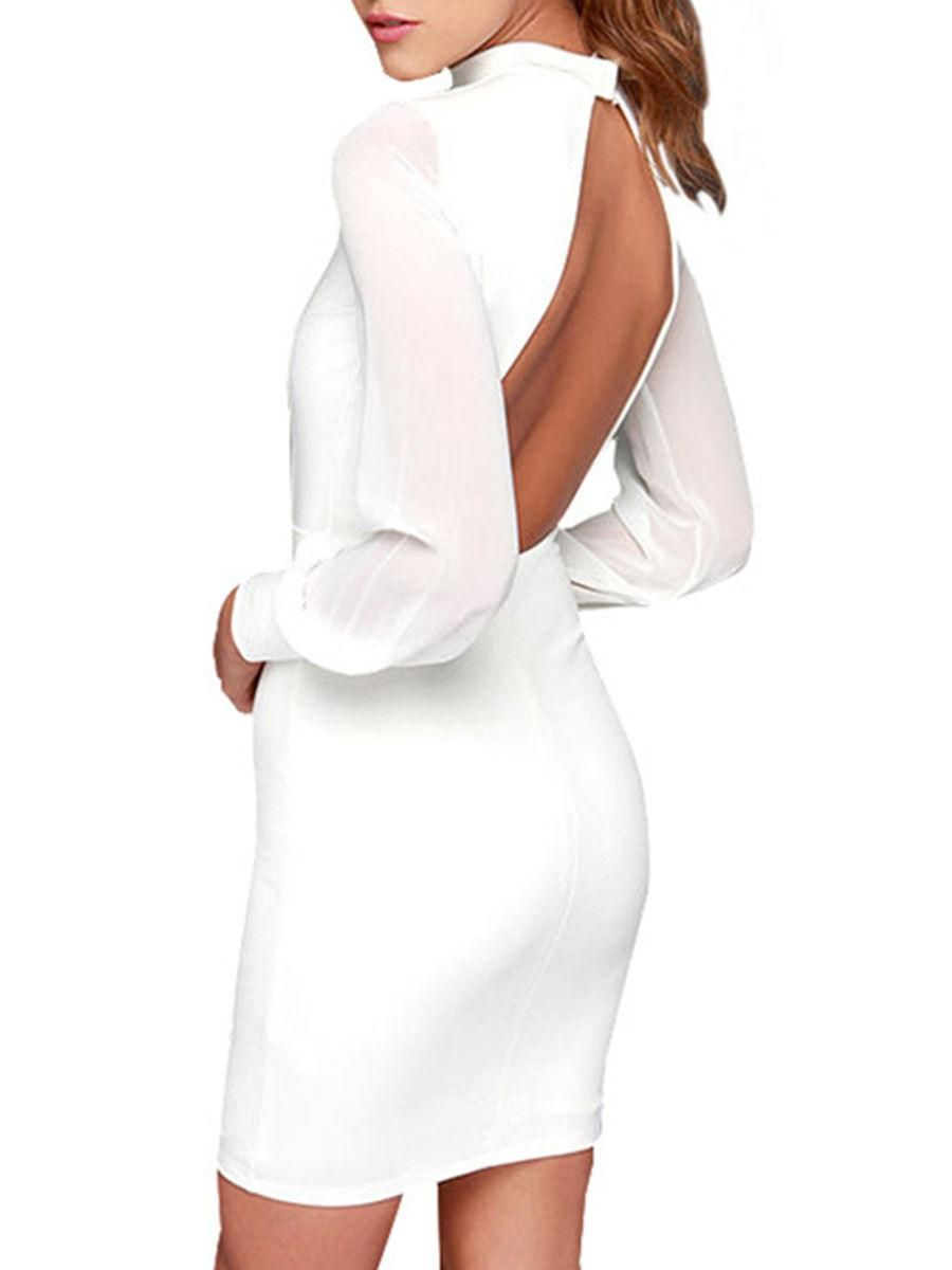 Fashionmia fashionmia band collar patchwork seethrough back hole