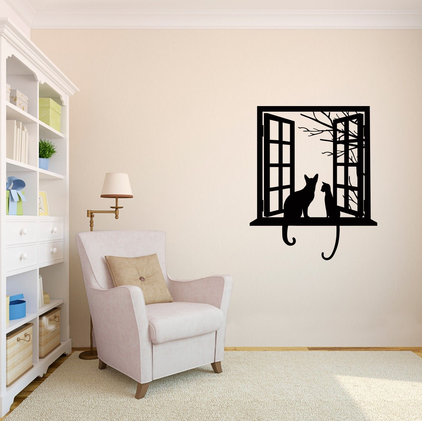 Cats Looking Through Window Silhouette Vinyl Wall Art Decal And - Custom vinyl wall decals cats