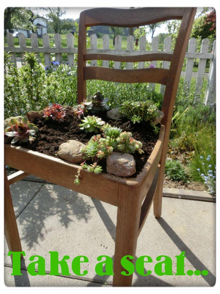 Bepflanzter stuhl Deko für draußen