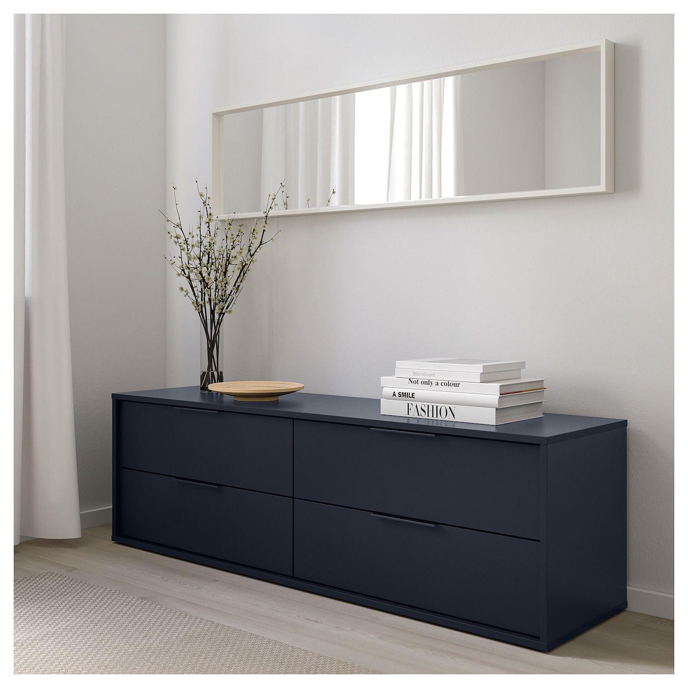 Nordmela 4 Drawer Dresser Black Blue 62 5 8x19 5 8 Mobilier