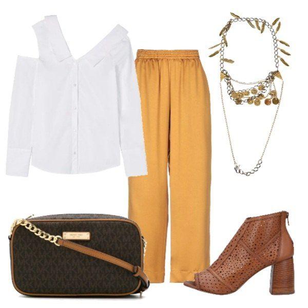 cheap for discount ed61a 33a2a Pantaloni a vita alta color senape, camicia bianca con ...