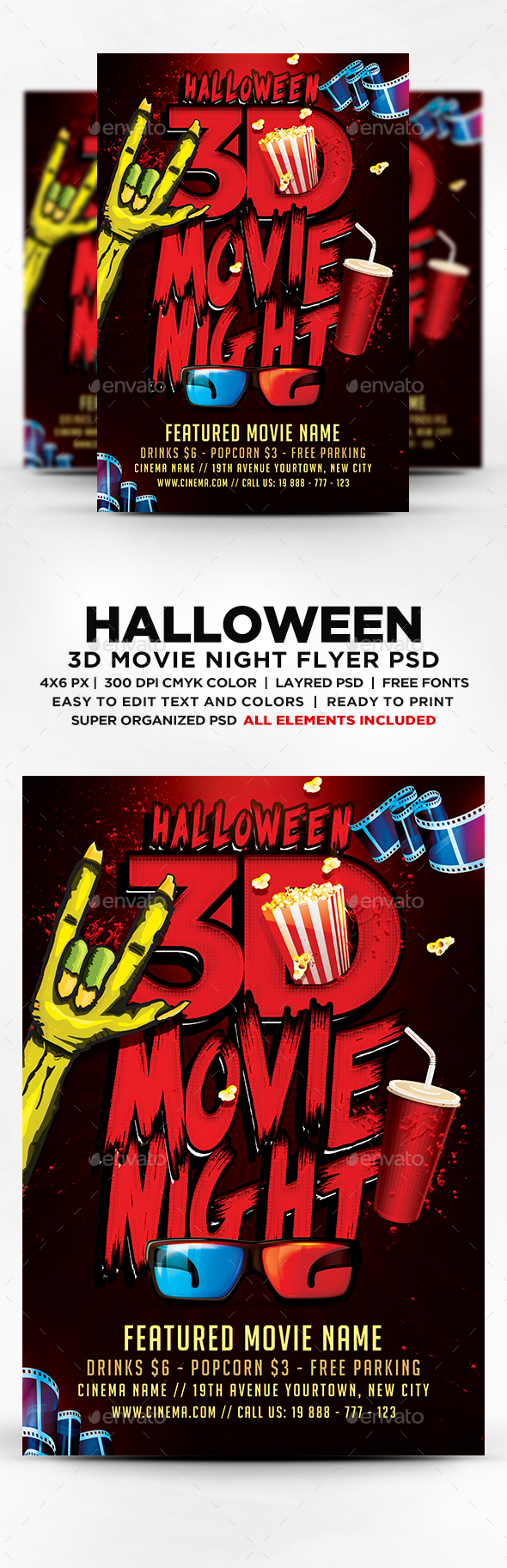 Halloween 3D Movie Night Flyer — PSD Template movie party