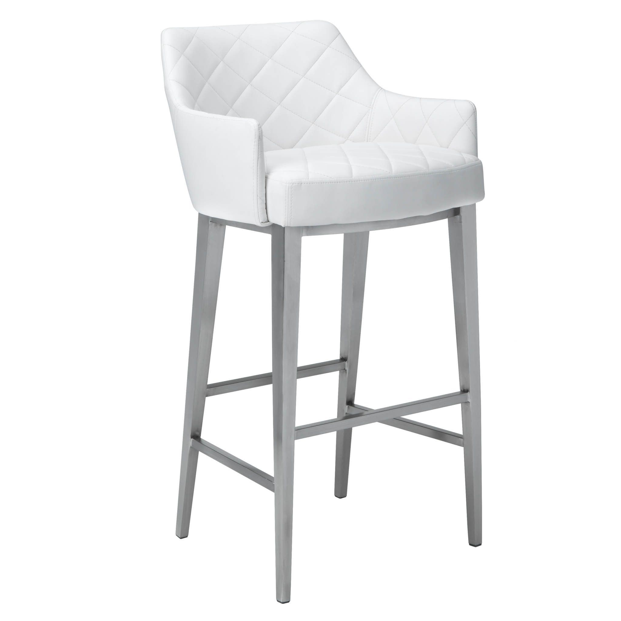 Sunpan Ikon Chase Faux Leather Bar Stool Chase White Barstool