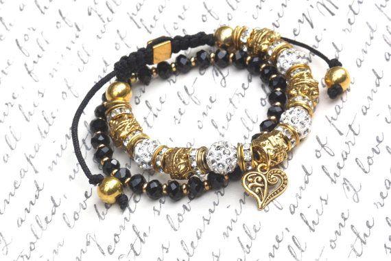 PYKNIC2 rhinestone heart stacking bracelet set macrame by PYKNIC2 $8.50 ☮ & ❥ LOVE www.pyknic2.etsy.com