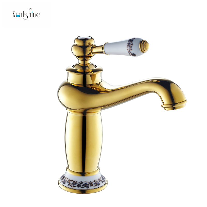 Free Shipping Gold Bathroom Faucet Antique Copper Faucet Brass - Gold and chrome bathroom faucets