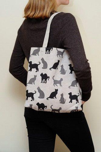 Linen Market Bag - Cats   Market bag, Cat bag, Bags