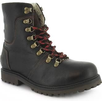 Mens Leather Fashion Boots With D-Ring Lace System With Fleece Lining