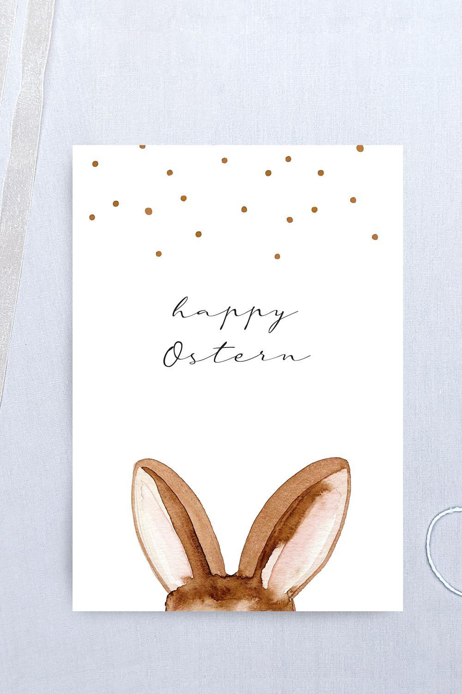 Postkarte happy Ostern mit Hasenohren – Grußkarte Ostern Hase Geschenk, mit Umschlag