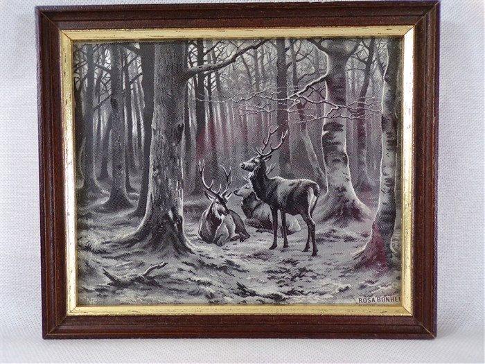 Tissé soie Neyret vintage encadré cerfs dans la forêt